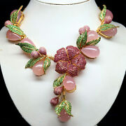 Natural Pink Chalcedony Thai Ruby And Green Tsavorite Necklace 925 Sterling Silver