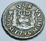 1746 Mexico Silver 1/2 Reales Antique 1700and039s Spanish Colonial Pirate Pillar Coin