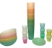 Vtg Tupperware Pastel Lot Of 21 Cereal Bowls Tumblers Cups Condiment Containers