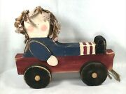 14 Primitive Style 2x4 Wood Raghair Doll Wagon Pull Toy Decoration Door Stop