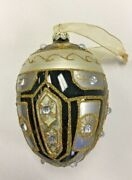 Black/silver/gold Jeweled Faberge Inspired Egg Polish Glass Christmas Ornament