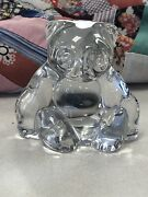 Vintage Villeroy And Boch Clear Glass Panda Bear Paperweight / Figurine Mini