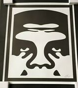 Shepard Fairey Obey Giant Face 1 2 3 Signed Set Of Three Prints White