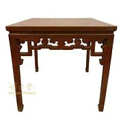 Vintage Chinese Red Lacquered Square Dining Table