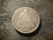 1884-s Vf Xf Seated Liberty Dime Decent Coin Msx