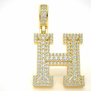 2.20ct Round Diamond 1.5 3d Varsity Initial Letter And039hand039 Pendant Charm 10k Gold