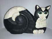 The Boydand039s J Dudley Hand Painted-carved Wooden Flat Cat Black And White 14-signed