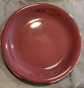 """Crateandbarrel F.giorgi Dinner Plate Red W/gold Trim Made In Italy 10.5""""imperfect"""