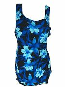 Deep Blue Womenand039s Blue Ultramarine Floral One Piece Front Sarong Swimsuit 16-26