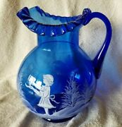 Antique Mary Gregory Cobalt Blue Ruffled Top Pitcher Girl With Trees 10 Signed