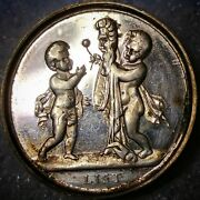 1860's Silver Whist Token Cupids And Mask 3689/3486f R-8 Ex M Fuld Collection