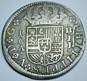 1725 Die Crack Spanish Silver 2 Reales Antique 1700's Colonial Mint Error Coin