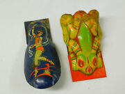 2 Vintage Tin Litho Toy Clickers Noisemaker Lot Metal Frog Dancing Lady