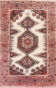 Antique Ivory Geometric Viss Hand-knotted Area Rug Wool Oriental 8and039x11and039 Carpet