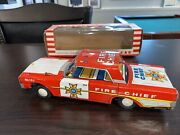 Vintage Nos Kyoei 1960's Friction Emergency Fire Chief Metal Toy Car New In Box