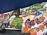 Vtg 80s 90s Large Lot Holiday Halloween Window Cling Wall Decorations Bond Bread