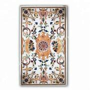 White Dining Table Top Semiprecious Floral Marble Inlay Marquetry Art Home Dandeacutecor