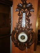 Antique Wall Wood Carved Black Forest Deer Hunting Barometer Thermometer