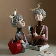 Girl Resin Figurines Crafts Fairy Statues Home Office Decoration Arts Sculptures