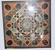 36 Black Marble Dining Side Mosaic Floral Table Top Inlay Hallway Decors B761a