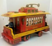 Vintage Battery Operated Tin Litho Broadway Trolley Trademark Parts Toy
