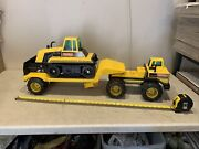 3 Feet Long Tonka Mighty Diesel Tractor Trailer With Bulldozer 3 Piece Set