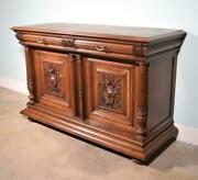 Antique French Henri Ii Door Sideboard/buffet In Solid Walnut Wood