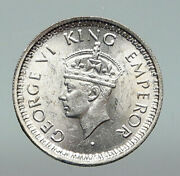 1945 India Uk States King George Vi Genuine Silver 1/4 Rupee Indian Coin I91218
