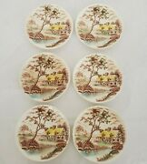 Vtg Colonial Village Bread Butter Plates 6 Quantity Crazing Hand Painted Japan