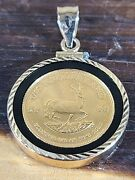 2000 South African Krugerrand 1/10 Oz Gold Coin In 14kt Gold/onyx Pendant
