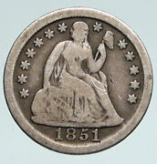 1851 United States Us Silver Seated Liberty Vintage Antique Old Dime Coin I90775
