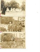 Lot Of 3 Real Photo Postcard Military Parade Veterans 4th July End Of Ww
