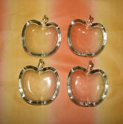 Vintage Clear Glass Candy Or Nut Dish Apple Shape Trinket Lot Of 4