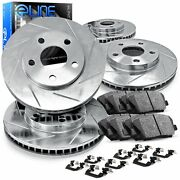 For 1999-2002 Jeep Grand Cherokee Front Rear Slotted Brake Rotors+ceramic Pads