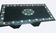 4and039x2and039 Marble Dining Table Top Inlaid Mother Of Pearl With Stand 16 Decors B797