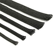 Black Braided Cable Sleeving Expandable Wire Harness Marine Auto Sheathing
