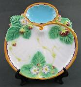 Antique Minton Majolica Strawberry Dish Plate - Shell Shape, Whipped Cream Well