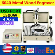 Usb 4 Axis 1.5kw Vfd Cnc6040 Router Engraver Metal Wood Pcb Milling Engraving