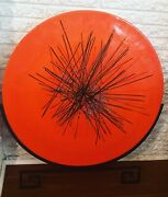 Abstract Murano Glass Disc On Stand Plate Centerpiece 27andrdquo Plate W/ Stand 31andrdquo