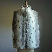 Vtg Olympia White And Gray Snow Leopard Print Faux Fur Reverses To Beige Nylon