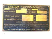The Sanford Motor Truck Co.brass Lubrication Tag.gargoyle/mobil Oil.recommends