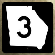 Georgia State Route 3 Highway Marker Road Sign Map 1961 24x24