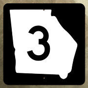 Georgia State Route 3 Highway Marker Road Sign Map 1961 36x36