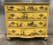 Baker Chippendale Style Chinoiserie Decorated Chest Bun Foot.