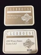 Lot 2 - 1993 World Series Clubhouse Badge Press Media Pin Blue Jays Vs Phillies