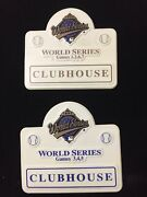 Lot 2 - 1995 World Series Clubhouse Badge Press Media Pin Braves Vs Indians