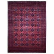 9and0399x13and039 Afghan Khamyab Deep And Saturated Red Hand Knotted Soft Wool Rug R67698