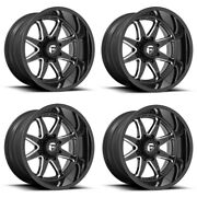 Set 4 22 Fuel D749 Hammer 22x12 Gloss Black Milled 5x5 For Jeep Wheels -44mm