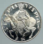 1972 Hungary King Saint Stephen And Horse Old Vintage Silver 50 Forint Coin I91365