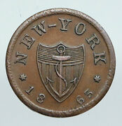 1863 Us Civil War Hotel Jones Wood New York Old One Cent Token Penny Coin I91369